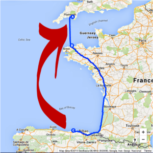 Map - Roscoff Santander with arrow
